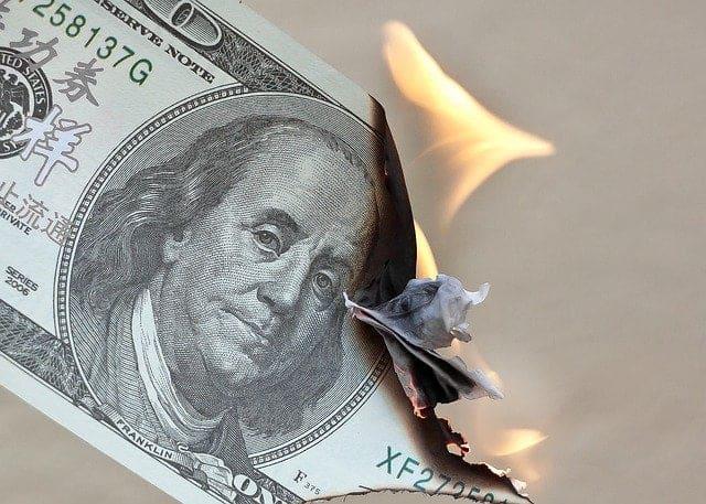 Hundred-dollar-bill-on-fire