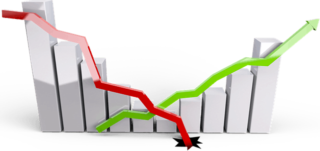 Graph-economy-down-stocks-up-with-green-arrow