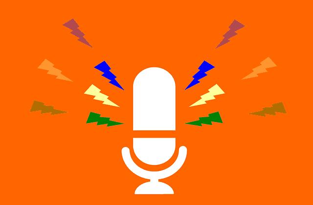 microphone-against-orange-background